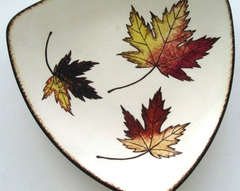 Vintage Serving Tray Autumn Leaves Platter Maple Leaves Hand Painted Orange Gold Brown White