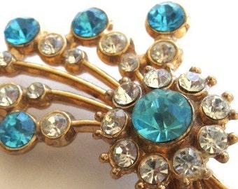 Vintage Brooch Pin Rhinestone Aqua Crystal Floral Spray Gold Tone