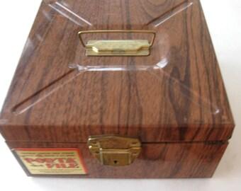 Vintage Metal Box Porta File Faux Bois Wood Grain Storage Industrial  Brown