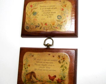 Vintage Friendship Plaques Wood Wooden  Uplifting  Quotes Set of Two 1970s