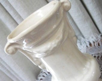 Vintage Pottery Vase  Decorative Urn Flower Vase Cream