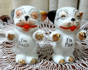 Vintage Puppy Salt and Pepper Shakers Doggie 1950s