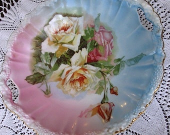 Vintage RS Prussia Decorative Open Handled Stipple Bowl Roses