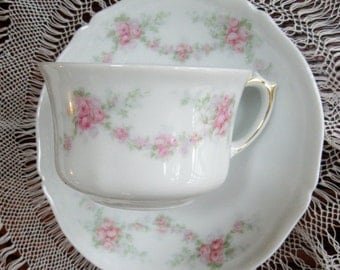 Vintage Cup and Saucer Rose Garlands Pink Bavaria 1905