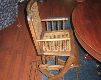 Vintage Wooden Rocking Chair Childrens High Chair Convertible Caned Seat and Back 1910