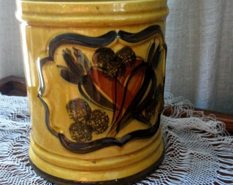 Vintage Canister Storage Container Los Angeles Potteries Gold Green 1960s
