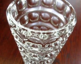 Vintage Glass Vase Art Deco Op Art Bulls Eye Pattern Mid Century