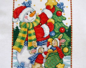 Vintage Frosty the Snowman Needlework Cross Stitch Holiday Decoration Red Green Gold 1980s