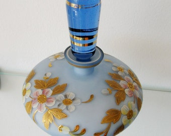 Vintage Decanter Satin Glass Cased Glass Hand Painted Enamel 1900