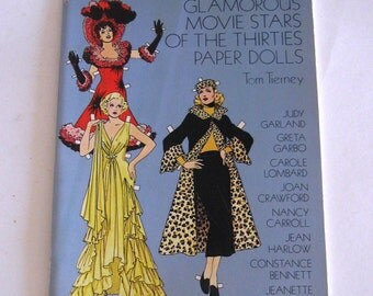 Vintage Paper Doll Book Uncut Glamorous Movie Stars of the Thirties Tom Tierney 1978