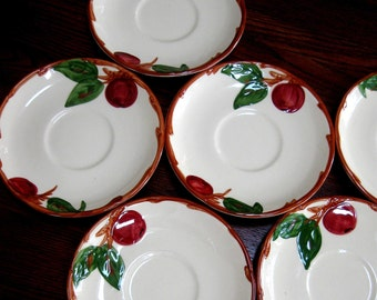 Vintage Franciscan Pottery Ware Saucers Apple Design Tea Cup Plates Set of Six
