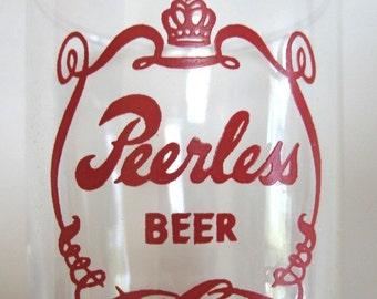 Vintage Peerless Beer Glass Advertising Breweriana LaCrosse Wisconsin Pre 1956