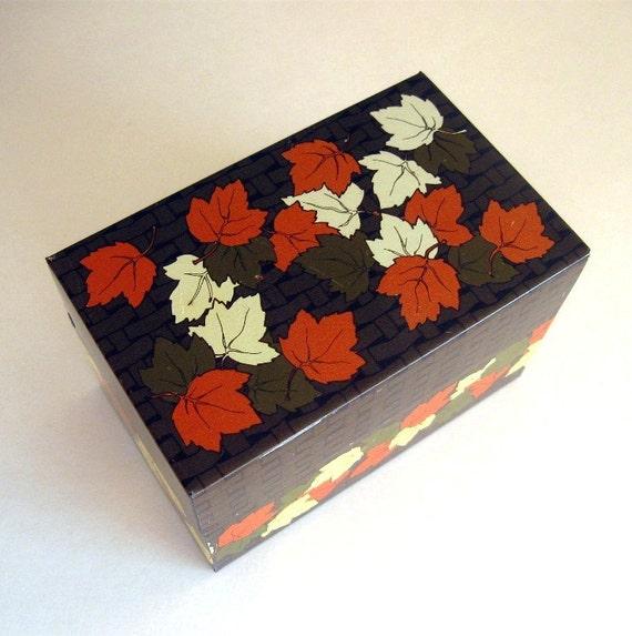 Decorative Recipe Box 2: Vintage Metal Decorative Retro Recipe Card Box Maple Leaves