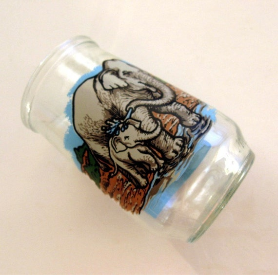 Jelly Jar Welches Glass Elephant  Endangered Species Asian