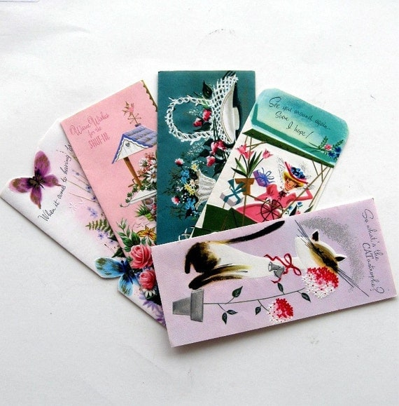 Vintage Greeting Cards Made in USA Five Pink Aqua 1950s