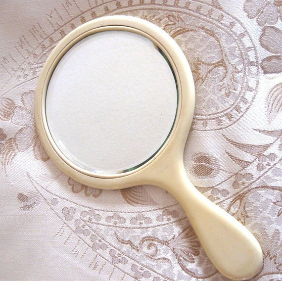 Vintage Celluloid Faux French Ivory Hand Mirror Beveled