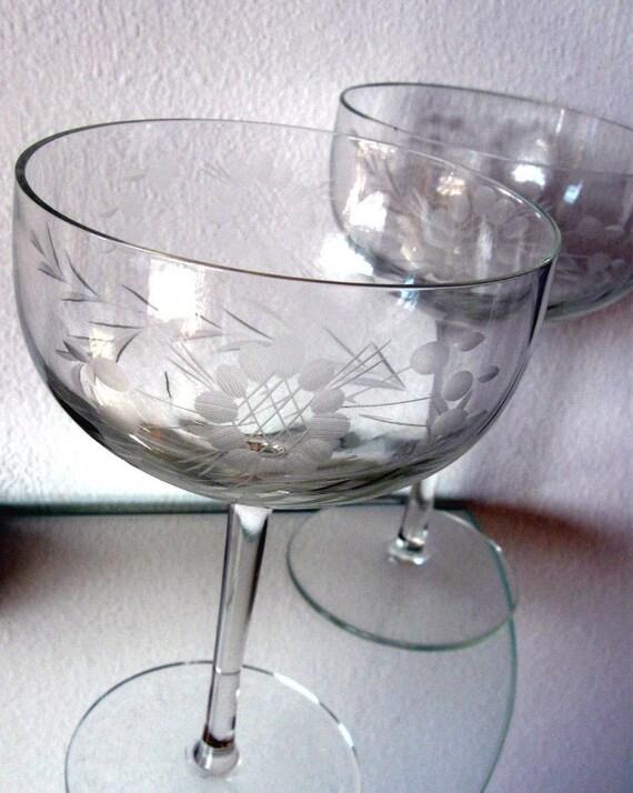 Vintage Champagne Glass Glasses Etched Crystal Floral Laurel Leaf Stems Two
