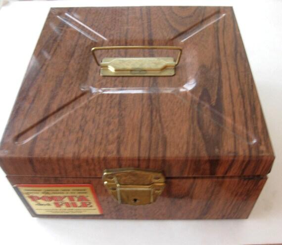 Wood Grain Storage : Vintage metal box porta file faux bois wood grain storage