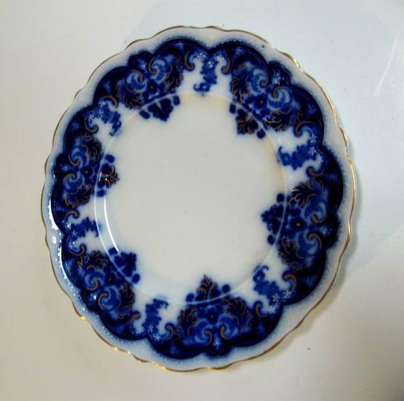 Vintage Flow Blue Plate Johnson Brothers Georgia Gold Leaf