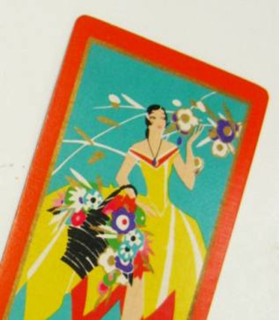 Vintage Playing Cards Art Deco United States Playing Card Company Marie Orange Yellow Green 1920s