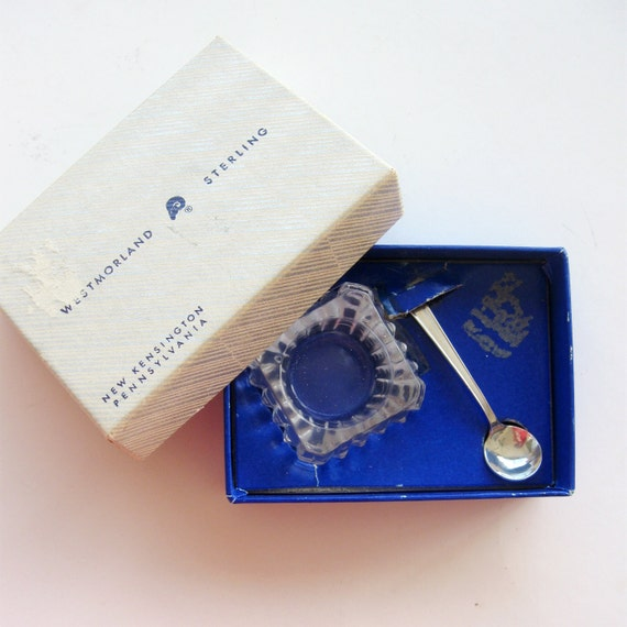 Vintage Salt Spoon Cellar Dip Sterling Silver Westmorland John and Priscilla Cambridge Glass