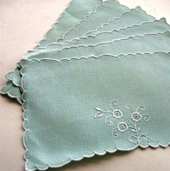 Vintage Doily Embroidered Floral White on Mint Green Small Oblong Set of Six 1950s