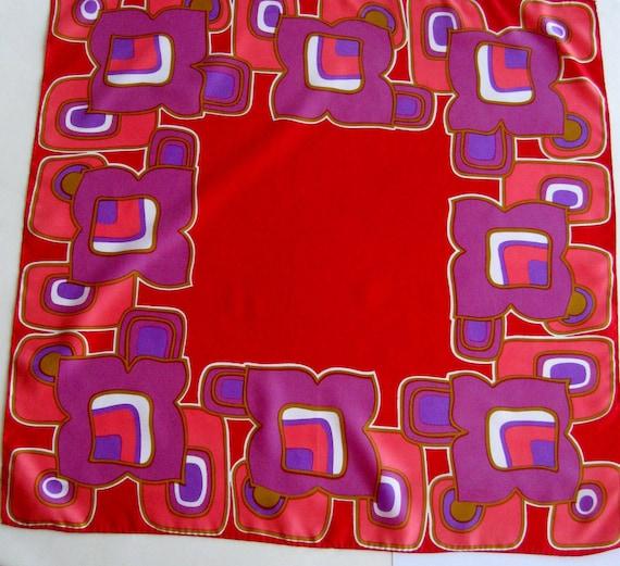 RESERVED for SANFORD - Vintage Scarf BoHo Mod Hippie Geometric Square Red Purple Pink Lavender 1980s
