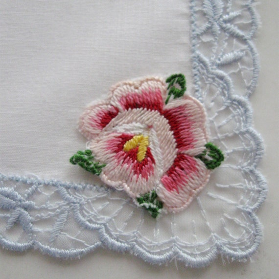Vintage Embroidered Hanky Linen Organza Trim Blue Pink Rose 1950s