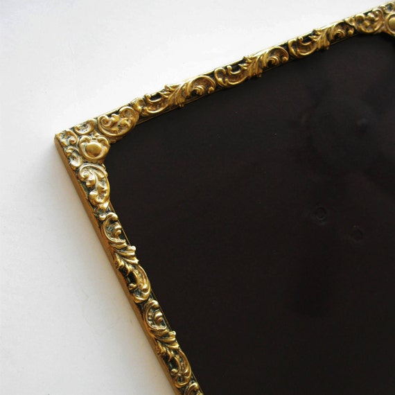 Vintage Metal Picture Frame Goldtone Victorian Art Nouveau Scrolled 1950s