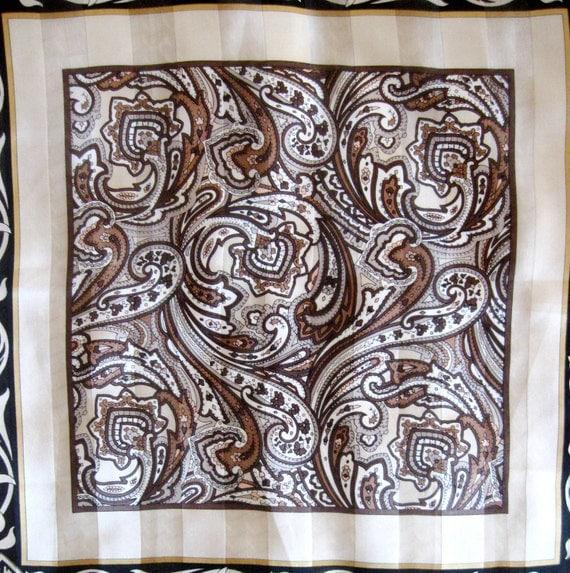 Vintage Silk Scarf Designer Paisley Scroll Black Brown Elige