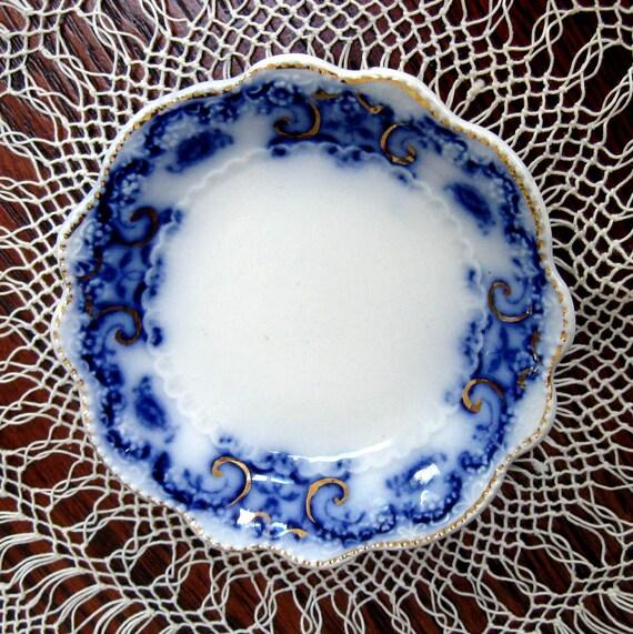 Vintage Flow Blue Butter Pat Portman Art Nouveau Grindley England  Cobalt Blue 1890s