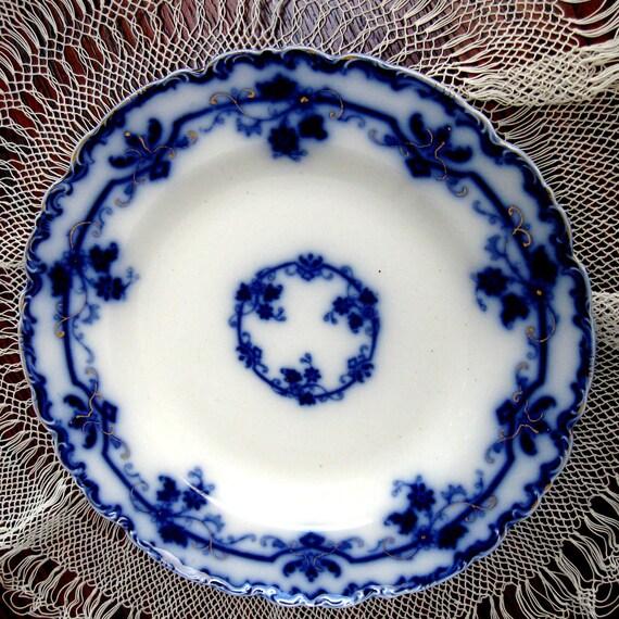 Vintage Flow Blue Plate Oxford Johnson Brothers Cobalt Blue 1900