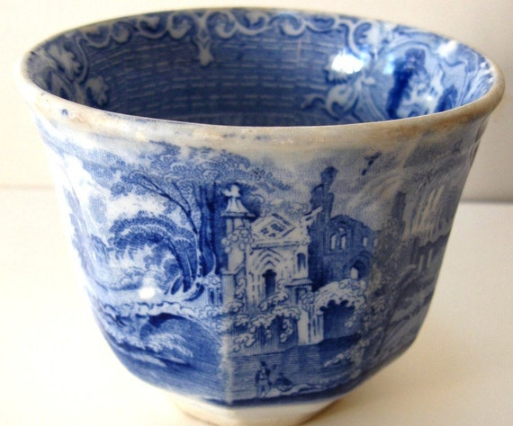 Vintage Cup Blue Transferware Staffordshire Antique Handle Less