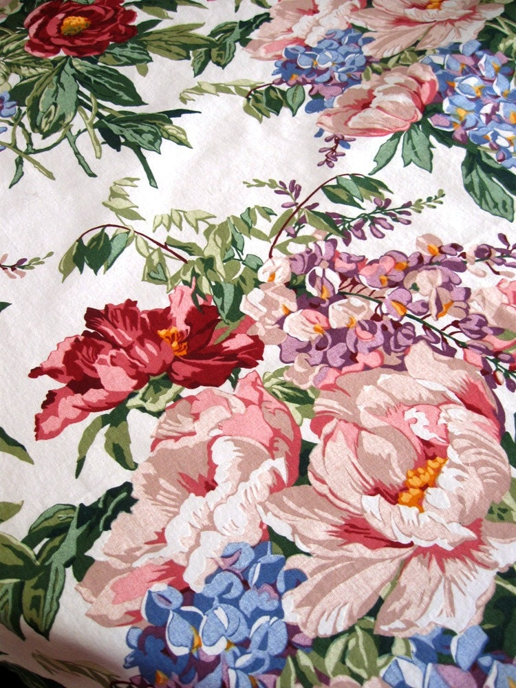 Vintage Floral Botanical Fabric Shower Curtain Waverly
