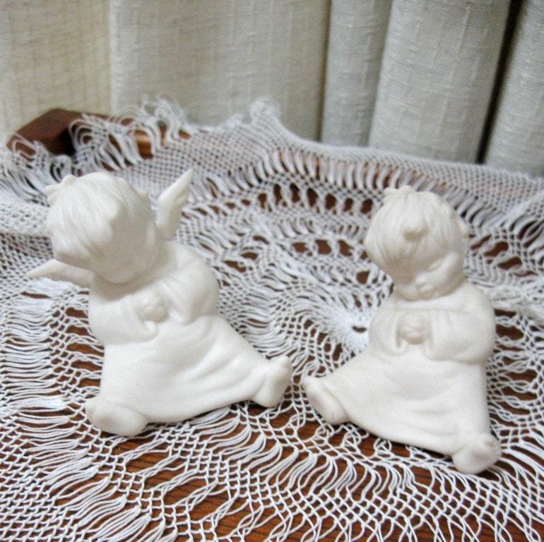 Vintage Angel Figurines Shelf Sitters Parian Bette White