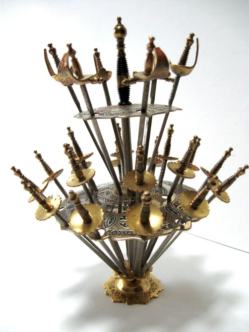Vintage Toledo Sword Cocktail Picks and Holder Classic 1960s