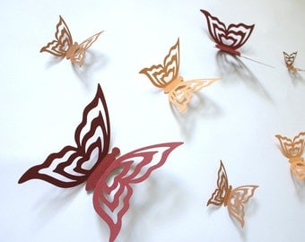 Wall Butterflies 3D Stickers VIVIENNE in oranges and red
