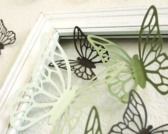 Wall Butterflies 3D Stickers KALIAH in greens and brown