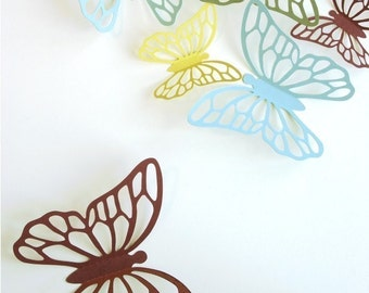 Wall Butterflies 3D Stickers KALIAH in red, yellow, blue and green