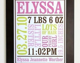 Custom Baby Birth Poster Announcement Style 2