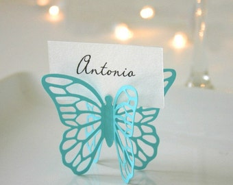 Butterfly Place Cards - Aqua - Set of 50