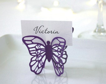 Butterfly Place Cards - Eggplant - Set of 75