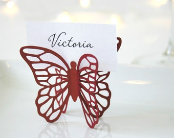 Butterfly Place Cards - Red - Set of 100