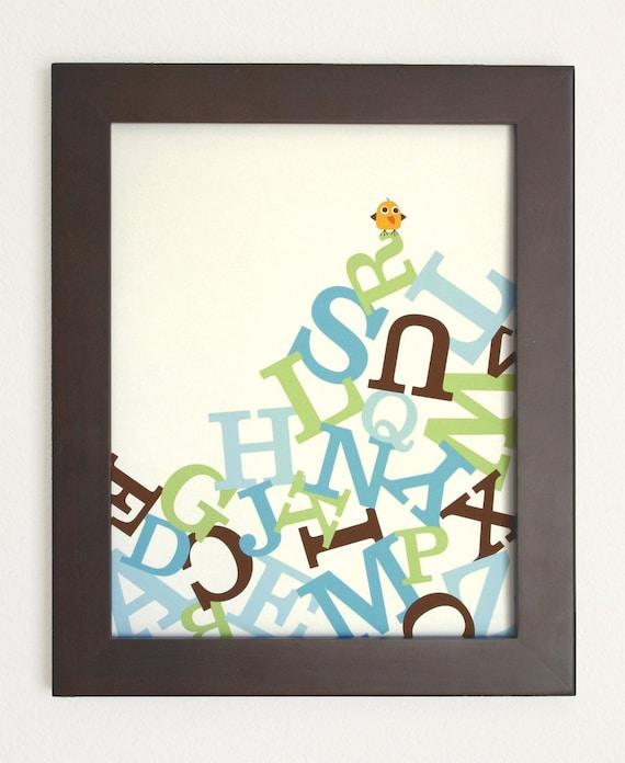 Alphabet Poster for Baby Boy Nursery