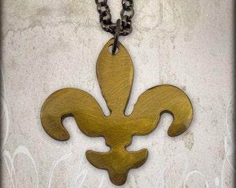 Coppery Gold Metal Fleur-de-lis Charm on Gunmetal Chain by WATTO Distinctive Metal Wear