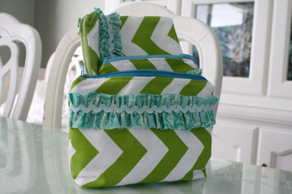 Chartreuse and White Chevron with Turquoise Ruffle Detail Zipper Pouch Set