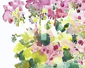 original watercolor \/ geraniums \/ ON HOLD for COLLECTOR