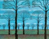 Art Print, 15 X 11 Pen and Ink Lithograph, Pointillism, Blue Sky Fall