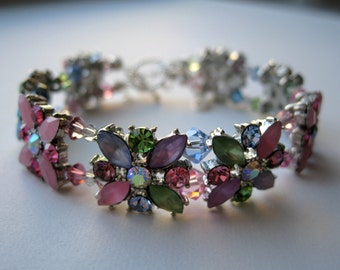 Swarovski Slide Bracelet Beautiful Spring and Summer Colors Flower Design, Aquamarine, Peridot, Lt Rose, Lt Amethyst, Lt Sapphire