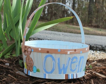 Hand Painted Easter Basket rectangle white by abbycakesoriginals